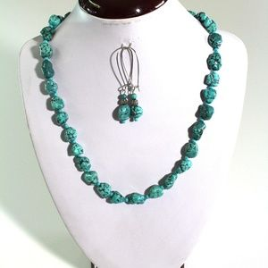 Handmade Genuine Natural Turquoise Nugget Necklace